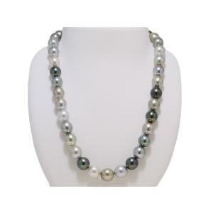 黒蝶真珠 マルチカラー 黒真珠 10mmX11.5mm ネックレス グリーン系 グレー系 レディース yokota-pearl