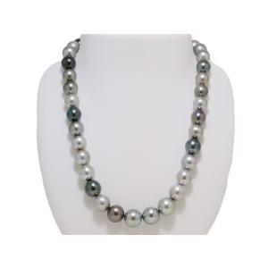 黒蝶真珠 マルチカラー 黒真珠 10mmX13mm ネックレス グリーン系 グレー系 レディース yokota-pearl