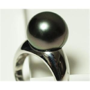 黒蝶真珠(黒真珠)13mmリング ダークグリーン|yokota-pearl