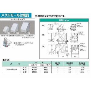 A1082:メタルエフモール付属品 コーナーボックスA型(ホワイト)|yonashin-home