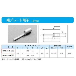 ブレード端子(BT形):BT0.75-7|yonashin-home