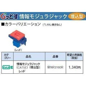 NR3160R:ぐっとすシリーズ情報モジュラジャック(CAT5E)(埋込型)(レッド)|yonashin-home