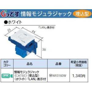NR3160W:ぐっとすシリーズ情報モジュラジャック(CAT5E)(埋込型)(ホワイト)|yonashin-home