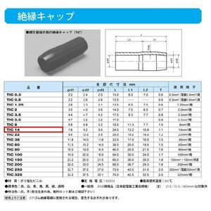 圧着端子用絶縁キャップ(TIC)青:TIC14-L|yonashin-home
