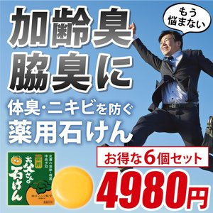 加齢臭策 柿渋 男性 加齢臭 ニキビ 体臭 お父さんの石けん 6個セット|yonekichi