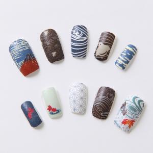 吉田手袋オリジナル・ネイルシールです。春は桜・鯉・七宝、夏は富士山・千鳥・金魚、秋は紅葉・月と兎・雲...