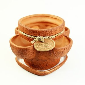 ストロベリーポット 植木鉢 皿付 24cm ブラウン テラコッタ 寄せ植え ガーデニング 送料無料
