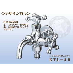 竹村製作所 デザインカラン2口タイプ KTL−40 ニッケルクロムメッキ|yorozuyaseybey