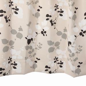 オーダーカーテン 遮光2級 KK334BK リーフ柄 ブラック 巾70〜100cm×丈80〜110cm 1.5倍ヒダ 形態安定加工付|yoshietsu