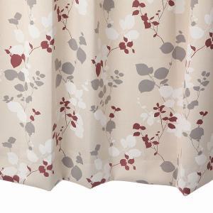 オーダーカーテン 遮光2級 KK334BR リーフ柄 ブラウン 巾70〜100cm×丈80〜110cm 1.5倍ヒダ 形態安定加工付|yoshietsu