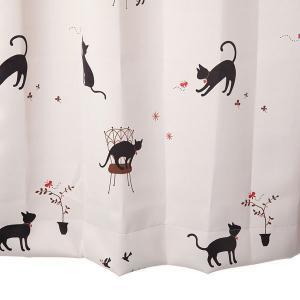 オーダーカーテン 遮光2級 KK375IV 猫柄 アイボリー 巾70〜100cm×丈80〜110cm 1.5倍ヒダ 形態安定加工付|yoshietsu