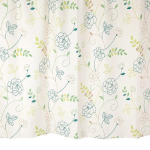 オーダーカーテン 遮光2級 KK394G 花柄 グリーン 巾70〜100cm×丈80〜140cm 1.5倍ヒダ 形態安定加工付|yoshietsu