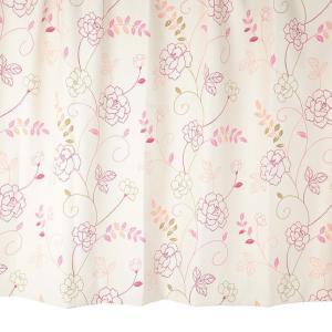 オーダーカーテン 遮光2級 KK394PI 花柄 ピンク 巾70〜100cm×丈80〜140cm 1.5倍ヒダ 形態安定加工付|yoshietsu