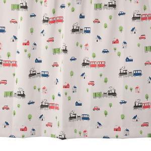 オーダーカーテン 遮光2級 KK403RE 汽車柄 レッド 巾70〜100cm×丈80〜110cm 1.5倍ヒダ 形態安定加工付|yoshietsu