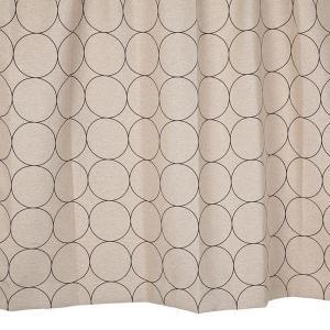 オーダーカーテン 遮光2級 KK417BR サークル柄 ブラウン 巾70〜100cm×丈80〜140cm 1.5倍ヒダ 形態安定加工付【P0221】|yoshietsu