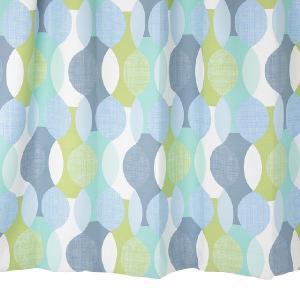 オーダーカーテン 遮光2級 MD0144BL 幾何学柄 ブルー 巾70〜100cm×丈80〜110cm 1.5倍ヒダ 形態安定加工付|yoshietsu