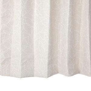 オーダーカーテン 遮光2級 UN0054IV リーフ柄 アイボリー 巾70〜100cm×丈80〜110cm 1.5倍ヒダ 形態安定加工付|yoshietsu