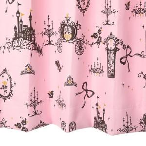 オーダーカーテン 遮光2級 UN404P シンデレラ柄 ピンク 巾70〜100cm×丈80〜140cm 1.5倍ヒダ 形態安定加工付|yoshietsu