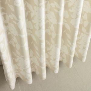 遮光カーテン 花柄 ベージュ ロワール 幅150cm×丈230cm2枚 防炎カーテン バラ柄カーテン 丈直しOK(有料)|yoshietsu