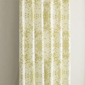 遮光カーテン リーフ柄 グリーン セリー 幅100cm×丈110cm2枚 北欧柄カーテン 丈直しOK(有料)|yoshietsu