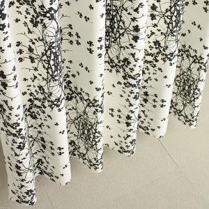 遮光カーテン リーフ柄 ブラック セリー 幅100cm×丈200cm2枚 北欧柄カーテン 丈直しOK(有料) yoshietsu