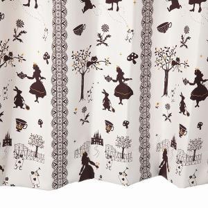 カーテン 北欧 アリス柄 遮光カーテン アイボリー 幅100cm×丈135cm2枚 丈直しOK(有料)|yoshietsu