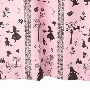 カーテン 北欧 アリス柄 遮光カーテン ピンク 幅100cm×丈135cm2枚 丈直しOK(有料)|yoshietsu
