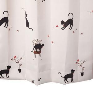 猫柄カーテン かわいいカーテン アイボリー 幅100cm×丈105cm2枚組  遮光カーテン 丈直しOK(有料) yoshietsu