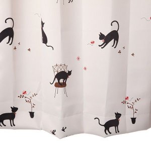 猫柄カーテン かわいいカーテン アイボリー 幅150cm×丈200cm2枚組  遮光カーテン 丈直しOK(有料)|yoshietsu