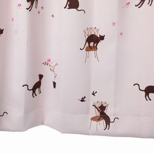 かわいい猫柄カーテン 遮光カーテン ピンク 幅100cm×丈110cm2枚 丈直しOK(有料)|yoshietsu