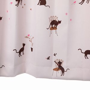 かわいい猫柄カーテン 遮光カーテン ピンク 幅100cm×丈178cm2枚 丈直しOK(有料) yoshietsu