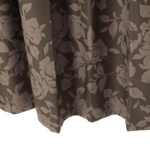 遮光カーテン 花柄 ブラウン ロワール 幅150cm×丈230cm2枚 防炎カーテン バラ柄カーテン 丈直しOK(有料)|yoshietsu