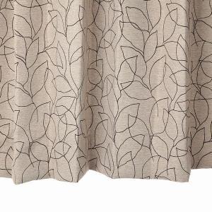 リーフ柄カーテン ブラウン 幅100cm×丈110cm2枚 un0054 遮光カーテン  おしゃれなカーテン 丈直しOK(有料)|yoshietsu
