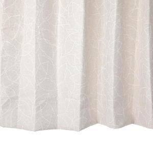 リーフ柄カーテン アイボリー 幅100cm×丈110cm2枚un0054 遮光カーテン おしゃれなカーテン 丈直しOK(有料)|yoshietsu
