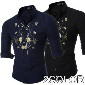 ビジネスシャツ カジュアルシャツ メンズ 花柄シャツ 長袖 ...