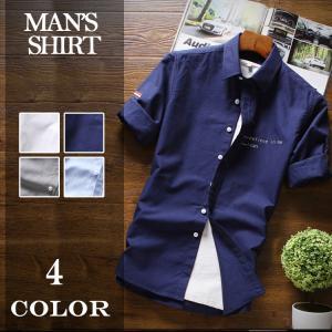 カジュアルシャツ メンズ シャツ 五分袖  半袖シャツ 薄手...