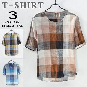 Tシャツ 半袖Tシャツ 綿麻Tシャツ メンズ カジュアル チ...