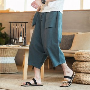 麻ズボン リネンパンツ ワイドパンツ メンズ サルエルパンツ クロップドパンツ ゆったり 七分丈パンツ 2019 夏 サマー|yoshikootory
