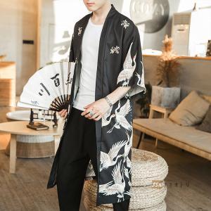 羽織 メンズ はおり 七分袖 甚平風 カーディガン ロング丈 鶴柄 部屋着 2019 涼しい  UVカット 和風|yoshikootory