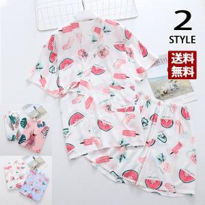甚平 レディース 上下セット パジャマ 夏服 女性用 ショートパンツ 可愛い ルームウェア 部屋着 ナイトウェア|yoshikootory