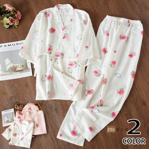 甚平 レディース セットアップ ロングパンツ 可愛い パジャマ 夏服 女性用 部屋着 ナイトウェア 2019|yoshikootory