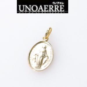 イタリア ブランド Jewelry ウノアエレ K18  マリアモチーフチャームトップ K18ゴールド 16mm 空洞ペンダント (健康のお守り)|yosii-bungu
