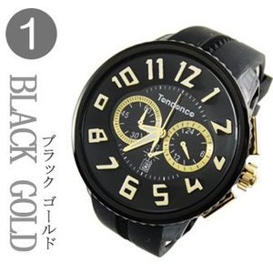 テンデンス (TENDENCE)  ミディアム ガリバー クロノ  TG460011 ブラック×ゴールド 腕時計|yosii-bungu