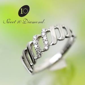 スイート10ダイヤモンド Sweet 10 Diamond K18WG ダイヤモンド リング   0.10ct サイズ11号  1R017W   【正規保証書付き】<|yosii-bungu