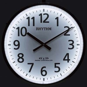 リズム時計 LED内部照明付屋外電波掛時計 夜間自動点灯 ムーンライトN 4MY812RH19  (ポールに取り付け可能) yosii-bungu
