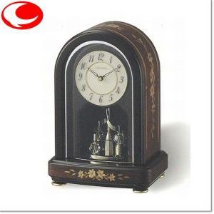 (今ならポイント最大37倍!)RHYTHM 茶色象嵌仕上げ RHG-S70 06(アイボリー)クオーツ置時計 4SG786HG06|yosii-bungu
