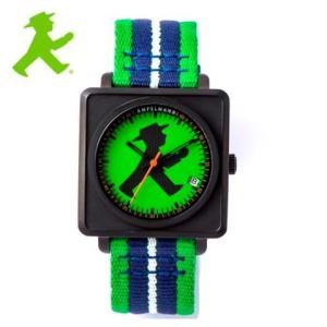 アンペルマン 腕時計 AMPELMANN  オートマ スクエア グリーン  APR-4971-12 ナトー式替えベルト付き yosii-bungu