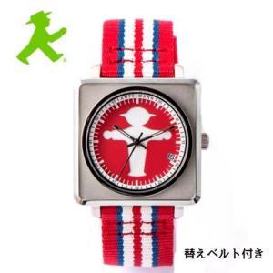 アンペルマン 腕時計 AMPELMANN オートマ スクエア レッド APR-4971-19 ナトー式替えベルト付き yosii-bungu