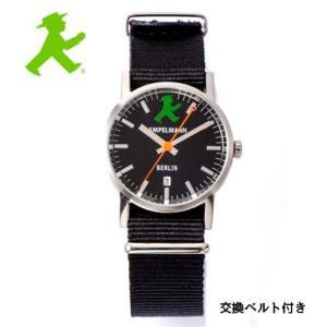 アンペルマン 腕時計 AMPELMANN  クォーツ ラウンド ブラック文字板  ARI-4976-05 ナトー式替えベルト付き yosii-bungu