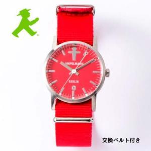 アンペルマン 腕時計 AMPELMANN  クォーツ ラウンド レッド文字板  ARI-4976-19 ナトー式替えベルト付き yosii-bungu
